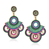 Handmade Embroidered Beaded Drop Earrings Folk Style