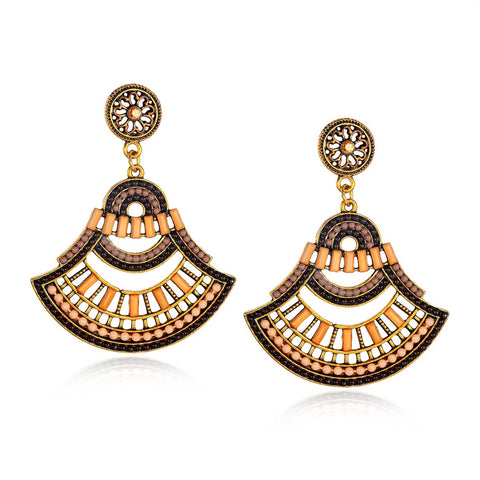 Fan Shaped Beaded Drop Earrings Handmade Ethnic Style