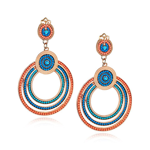 Round Handmade Beaded Drop Earrings
