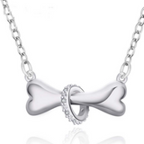 Special Design 925 Sterling Silver Dog Bone Shape Pendant Necklace