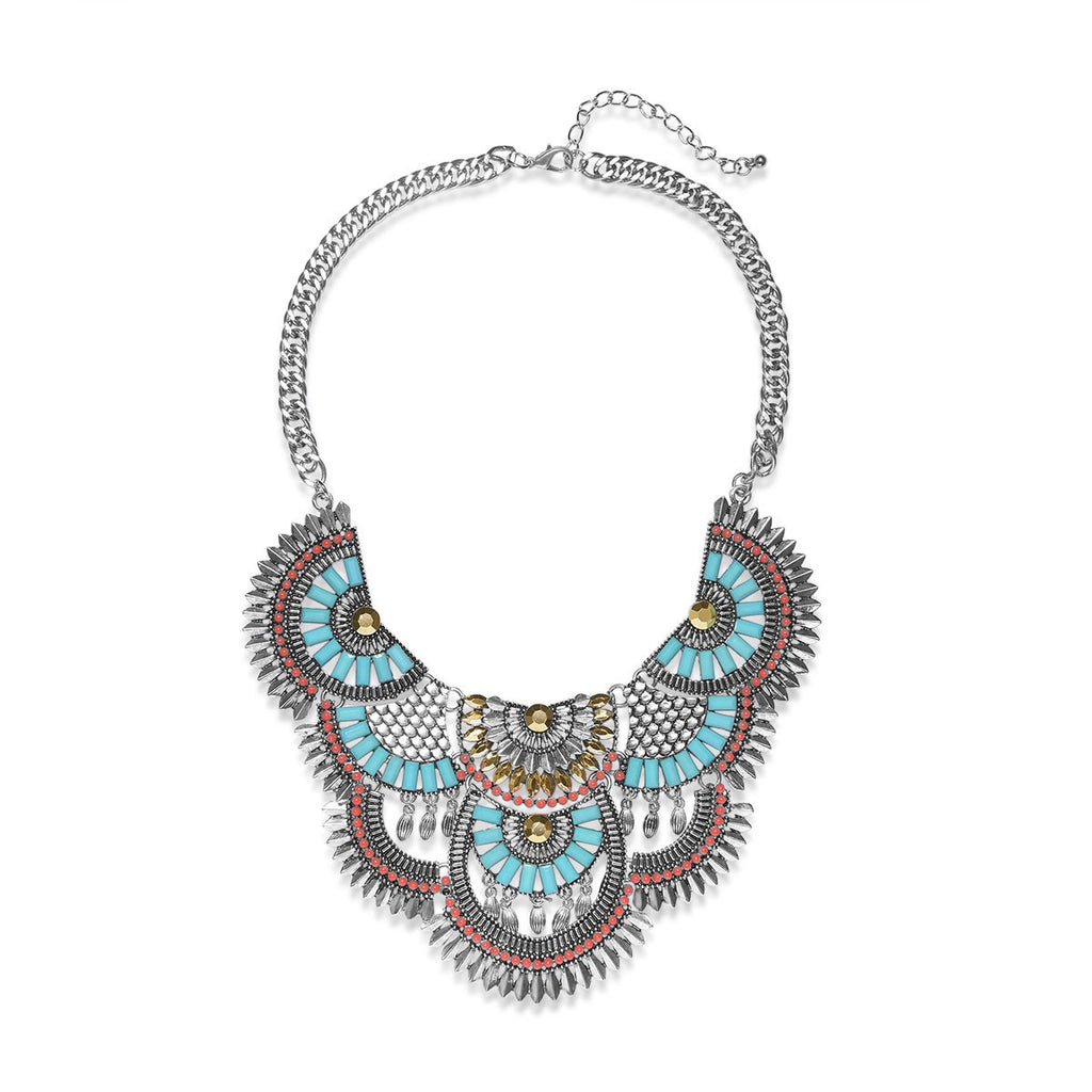 Multicolor Beaded Tribal-Inspired Statement Necklaces