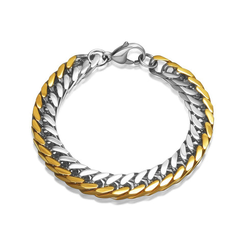 Gold Silver Curb Men Chain Bracelet Stainless Steel