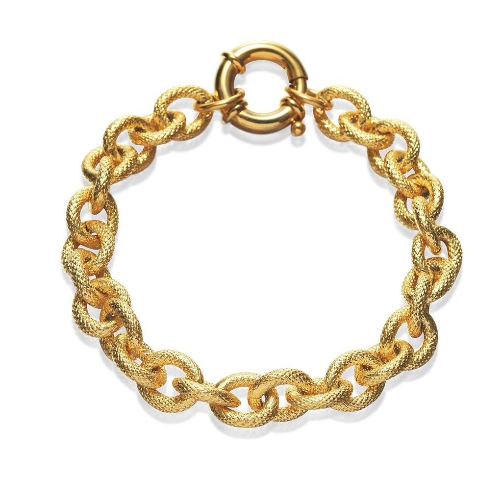 Gold Curb Chain Men Bracelet Stainless Steel