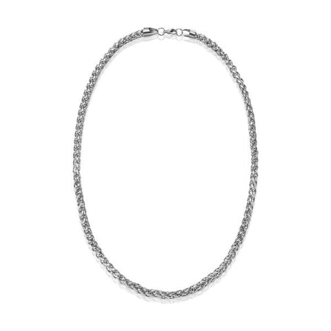 Silver Stainless Steel Men Braided Chain Necklace