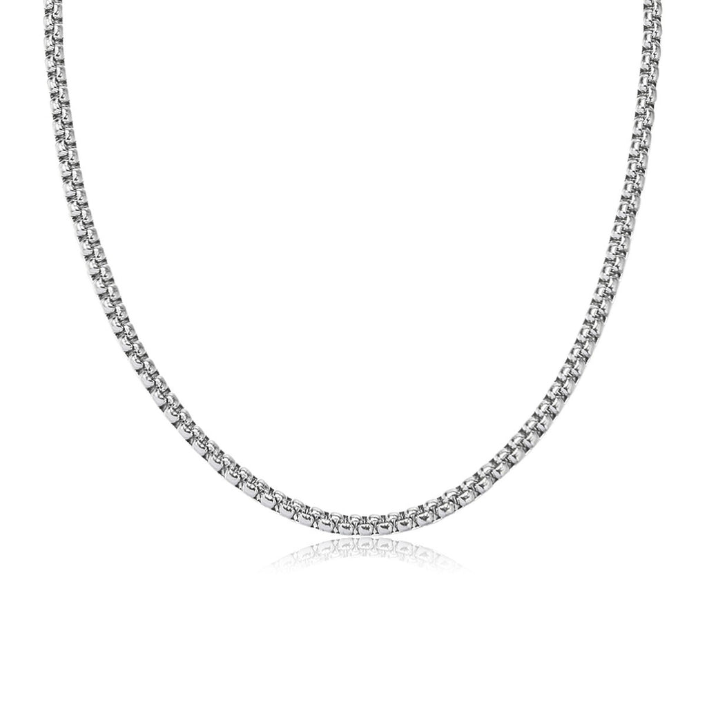 Silver Stainless Steel Men Fine Curb Chain Necklace