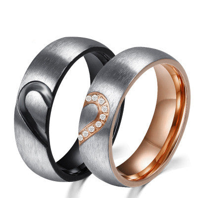 Heart-Shaped Brushed Inlaid Cubic Zirconia Couple Rings