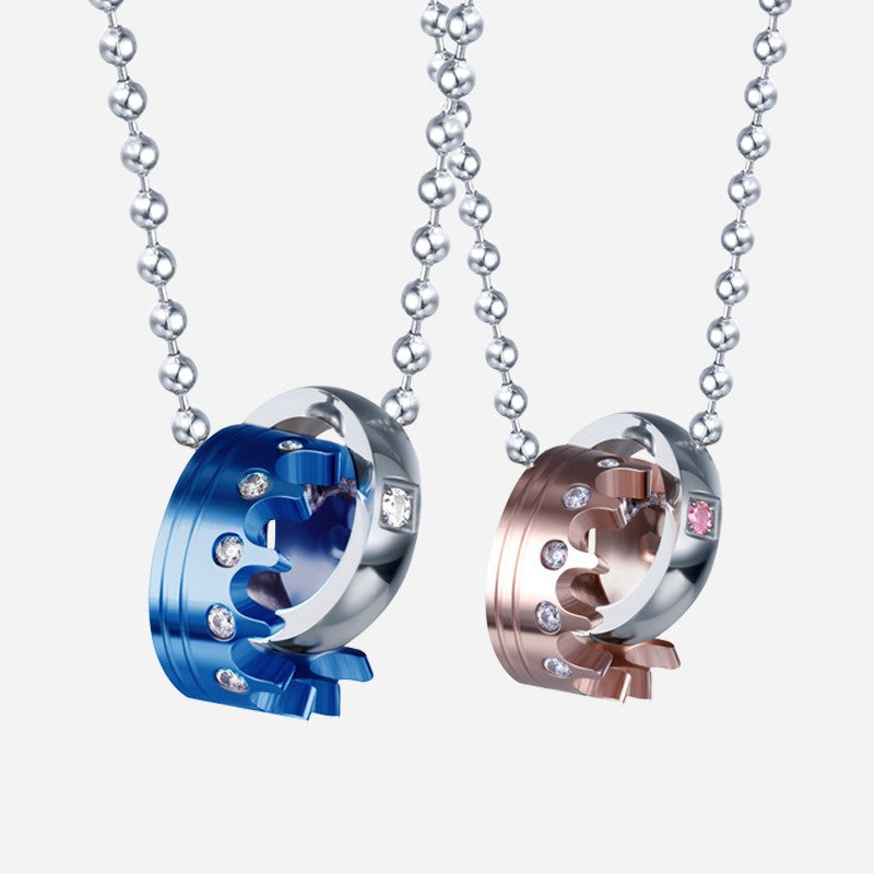 Titanium Blue And Rose Gold Zircon Inlay Crown Couple Necklaces