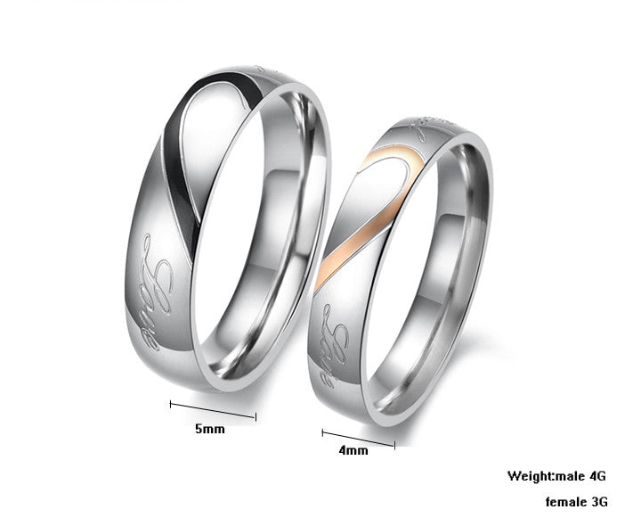 97ea49415a6e5 Personalized Matching Heart |Real Love| Titanium Couple Rings