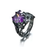Mystery of Night 925 Sterling Silver Statement Ring