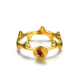 Rough Rose 925 Sterling Silver Gold Plated Engagement Ring