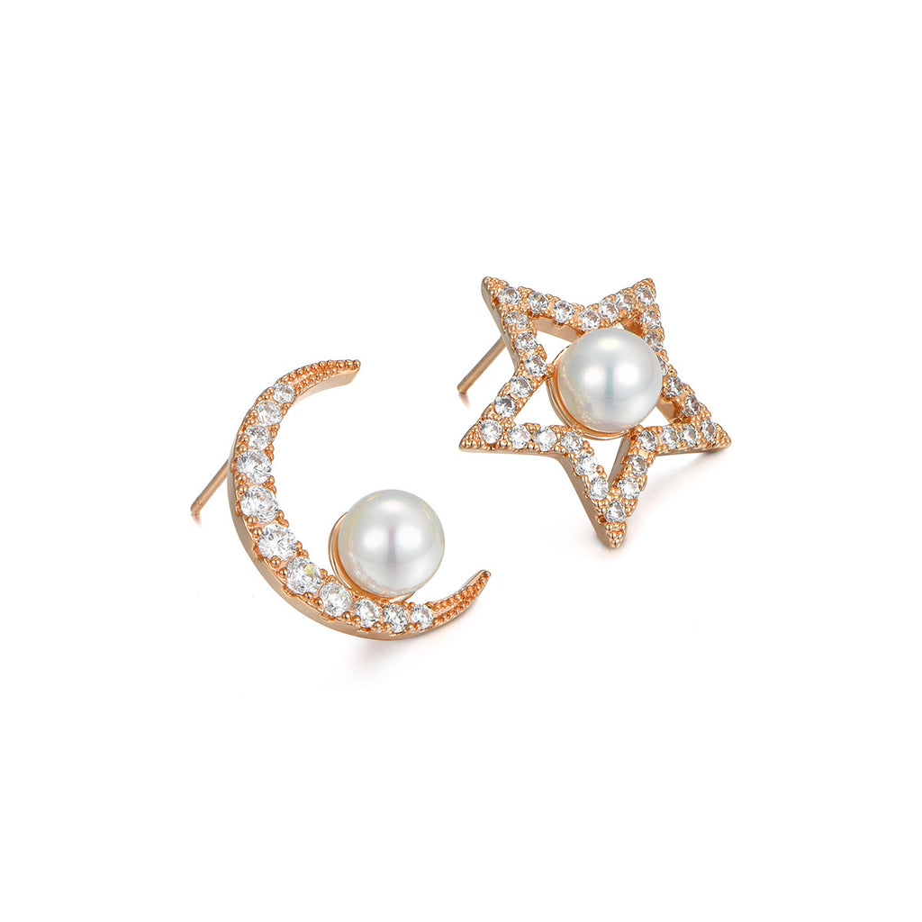 Love Pearl Moon Star Earrings