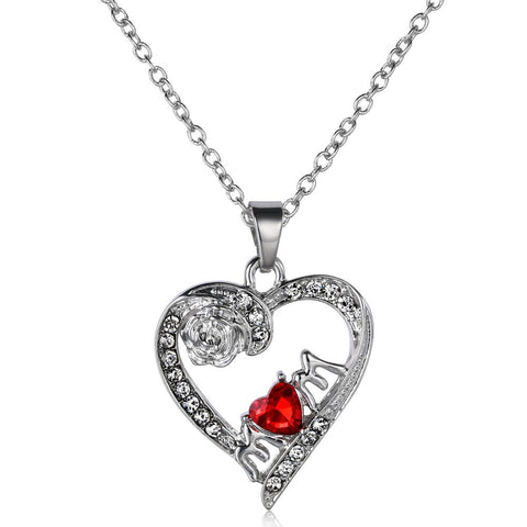 """Mom"" Red Crystal Rose Heart Silver Necklace"
