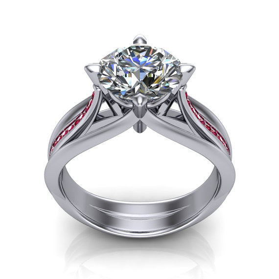 2 Carat Created Diamond Angular Geometric Engagement Wedding Ring