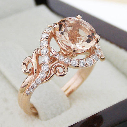 rose gold peach pink created sapphire engagement wedding ring - Pink Wedding Ring
