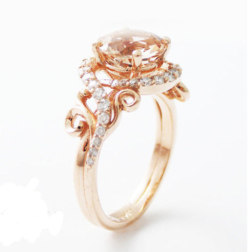 Rose Gold Wedding Ring.Rose Gold Peach Pink Created Sapphire Engagement Wedding Ring