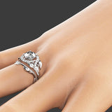 Created White Sapphire Leaf Flower Engagement Wedding Ring Set