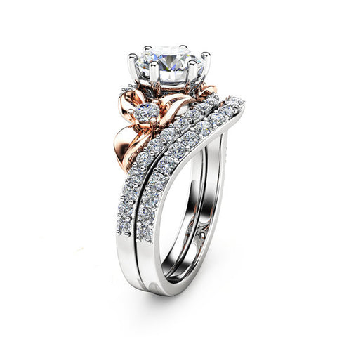 Forever Brilliant Created White Sapphire Floral Engagement Ring Set