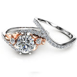 Forever Brilliant Created White Sapphire Floral Engagement Wedding Ring Set