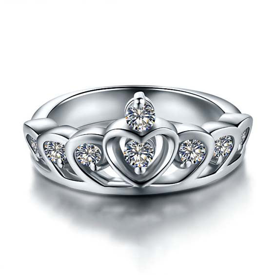 Women's Engagement Rings Wedding Crown 925 Sterling Silver Silver