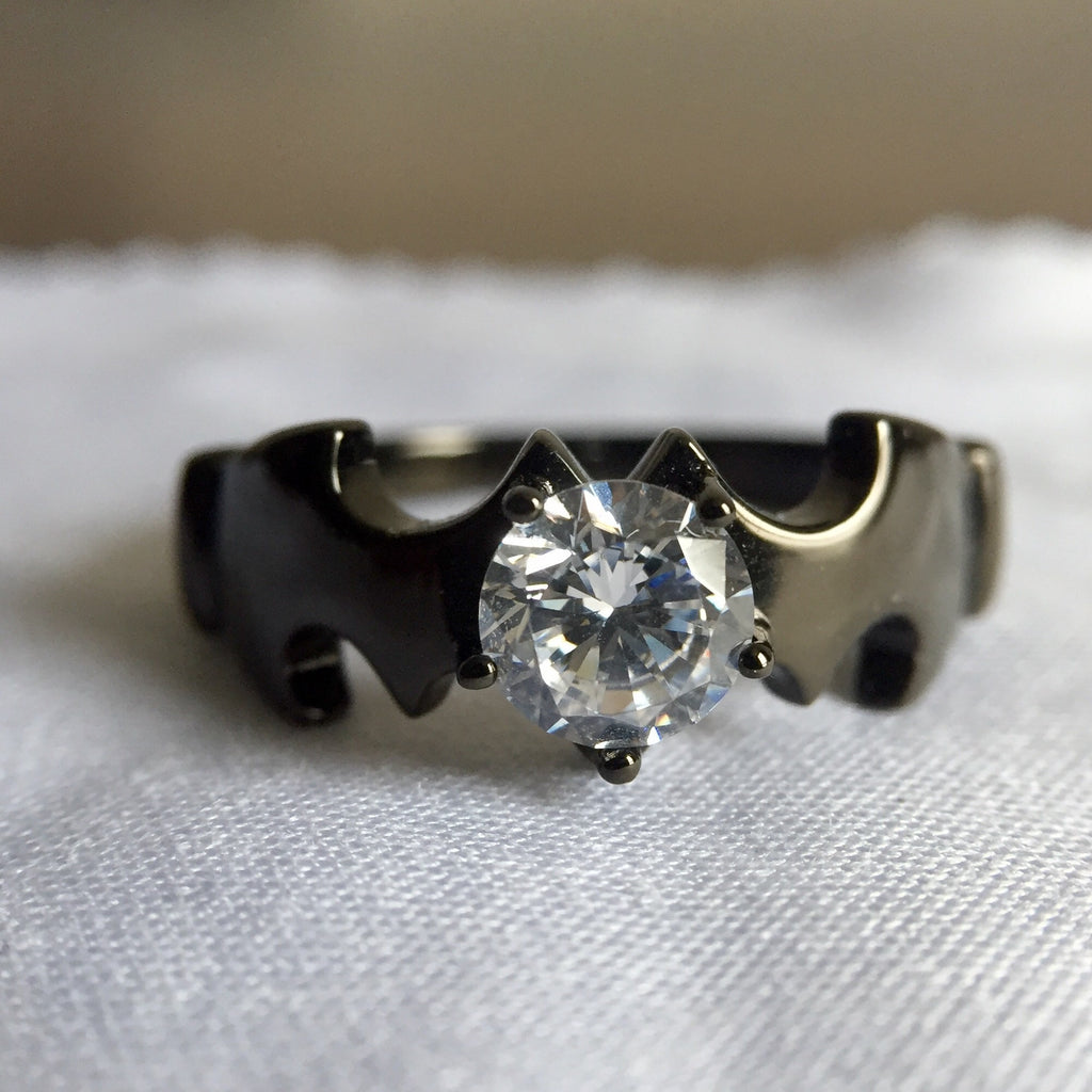 ... Personalized Batman Round Cut CZ 925 Sterling Silver Black Gold Plated  Unisex Ring