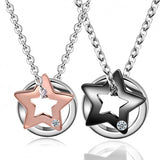 Star And Circle Titanium Steel Couple Necklaces