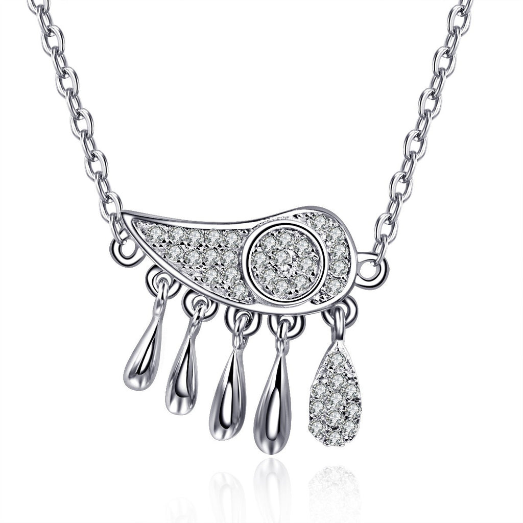 The Cloud And Raindrop CZ Inlaid 925 Sterling Silver All-match Women's Necklace