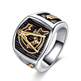 Retro Free-Mason Shape Titanium Steel Ring For Men