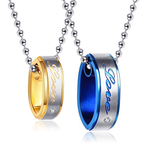 Love Relationship Titanium Steel Couple Necklaces
