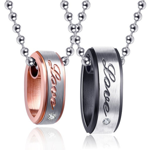 Charming ¨¹Love¨¹ Round Titanium Steel Couple Necklaces