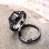 Black Diamond 925 Sterling Silver Engagement Ring Set