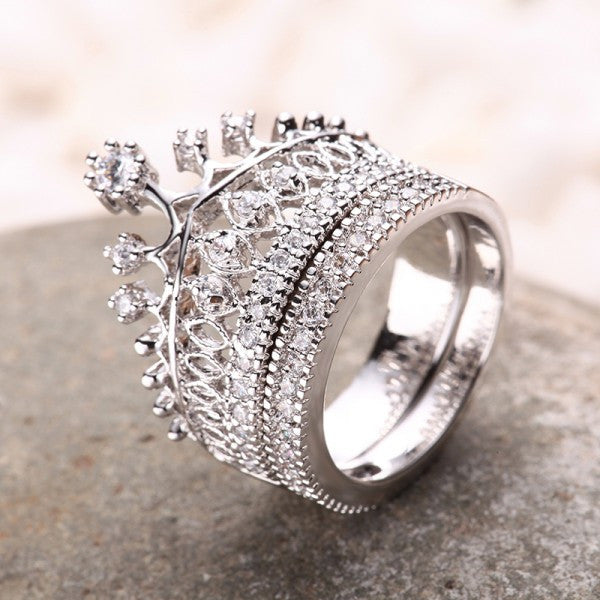 crown rhinestone pave women engagement ring set - Crown Wedding Rings