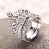 Crown Rhinestone Pave Women Engagement Ring Set
