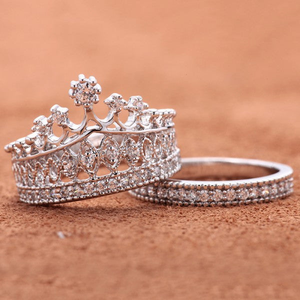 crown rhinestone pave women engagement ring set - Crown Wedding Ring