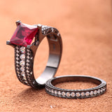 Princess Cut Red Ruby Cocktail Rings Set