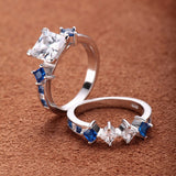 White & Blue Diamond Engagement Ring Set