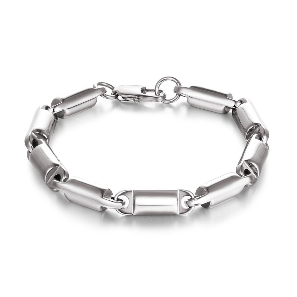 Cylinder Linked Chain Stainless Steel Men Bracelet
