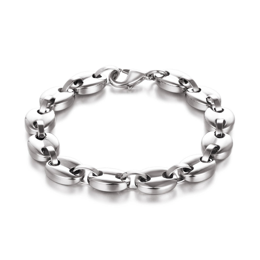 Oval Linked Chain Stainless Steel Men Bracelet