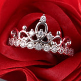 925 Sterling Silver Crown Zircon Diamond Around Engagement Ring