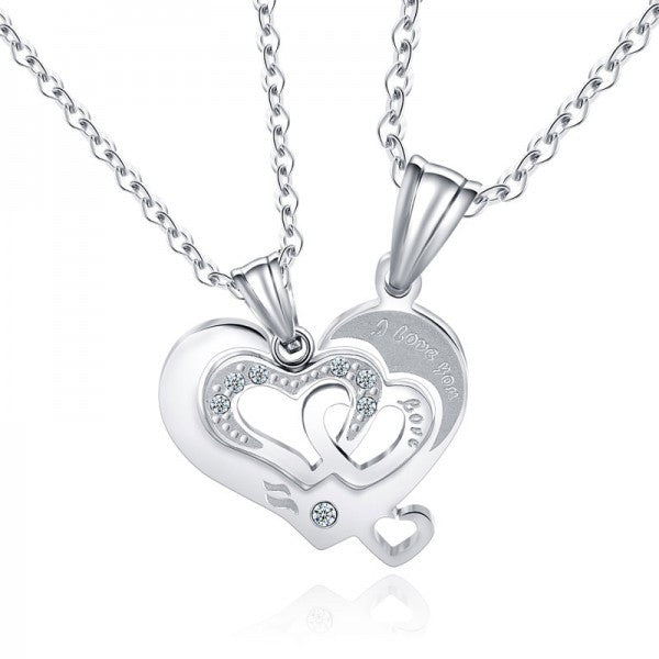 Matching Heart Silver Titanium Steel Couple Necklaces