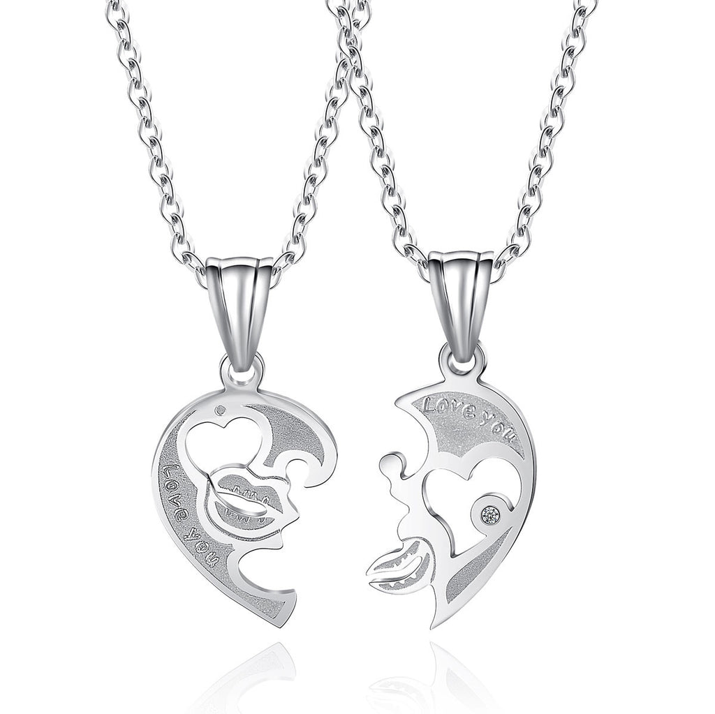 Women's Pendant Necklace Daily Kiss Love You Titanium Steel Silver