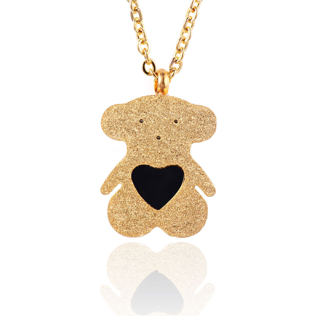 Women's Pendant Necklace Daily Teddy Bear Titanium Steel Golden