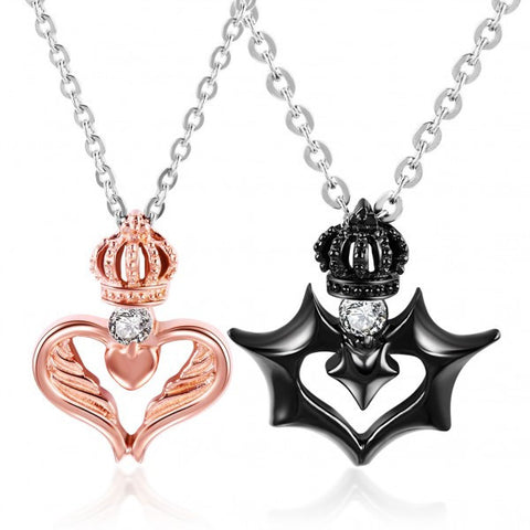 Royal Love Crown Fly Diamond Couple Necklaces