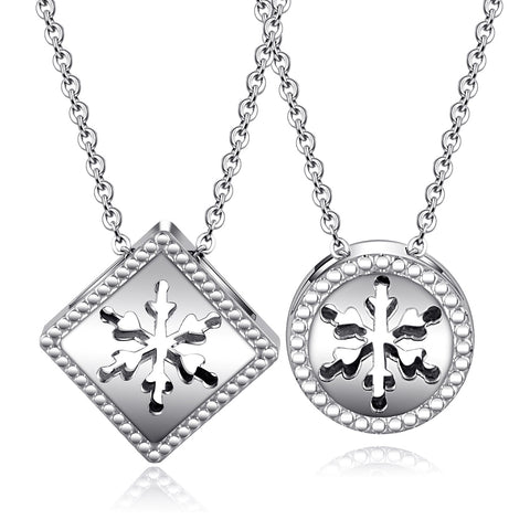Couple Pendant Necklace Daily Hollow Snowflake Titanium Steel Silver