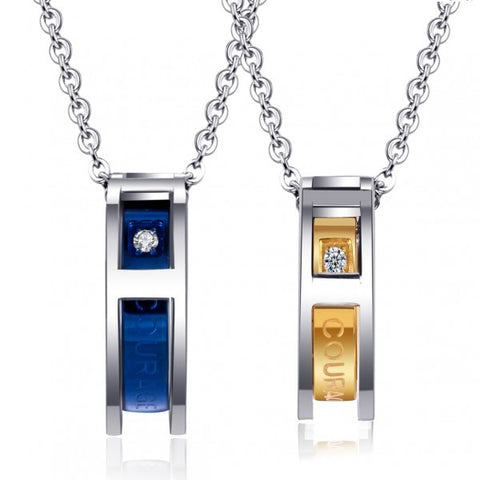 Elegant ¨¹Courage & Dreams Come True¨¹ Titanium Steel Couple Necklaces