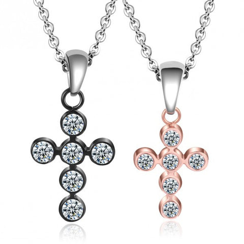 Cross Shape Rose & Black Diamond Couple Necklaces