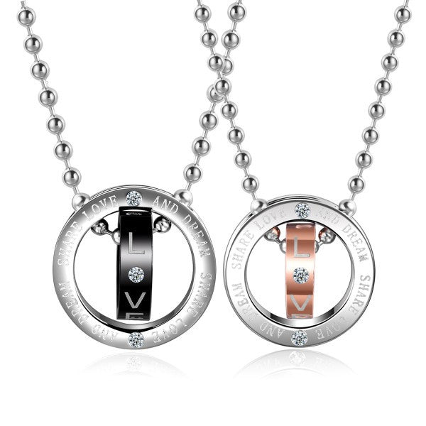 Double Circles Silver Titanium Steel Couple Necklaces