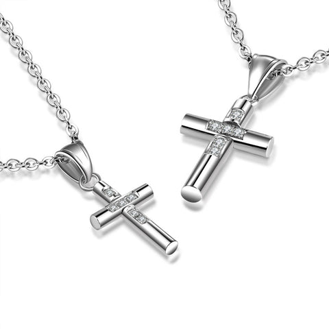 Couple Pendant Necklace Daily Cross Titanium Steel Silver