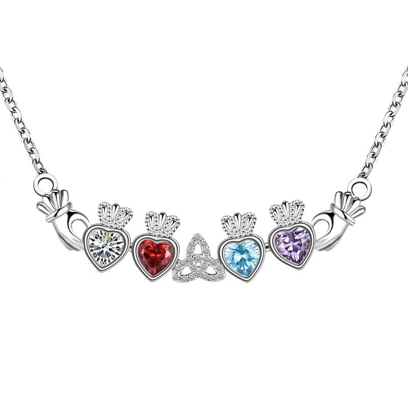 Multi-Color Sterling Silver Claddagh Necklace