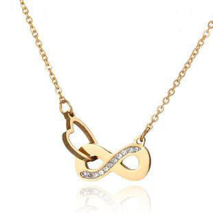 Heart Locking Infinity Stainless Steel Necklace