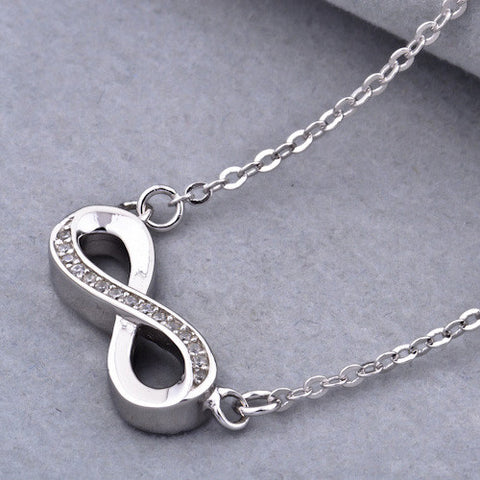 Infinity Diamante Pendant 925 Sterling Silver Necklace